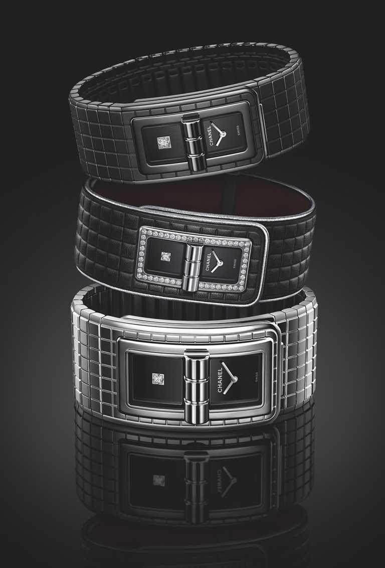 (由上至下)CHANEL「Code Coco」黑色腕錶╱267,000元;皮革腕錶╱300,000元;大型款腕錶╱236,000元;各限量255只。(圖╱CHANEL提供)