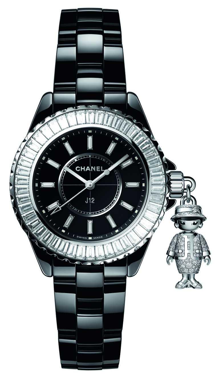 CHANEL「Mademoiselle J12 Acte II」腕錶(黑色款),33mm,鑽石283顆,限量20只╱3,408,000元。(圖╱CHANEL提供)