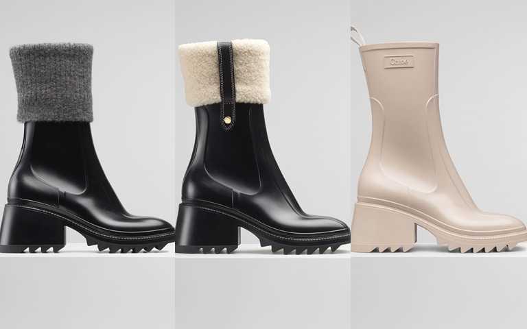 Chloé Betty黑色防水羊毛襪套短靴/19,800元、Chloé Betty黑色防水雪靴/19,000元、Chloé Betty灰白色防水短靴/17,200元(圖/品牌提供)