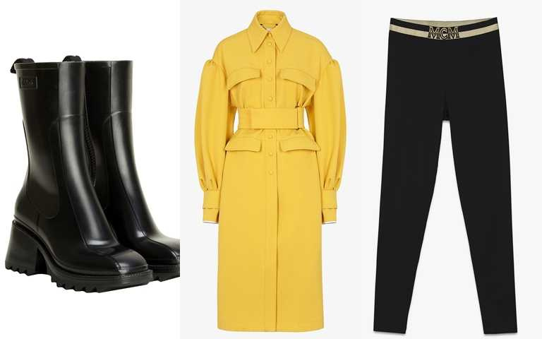 喜歡她的穿搭妳可以這樣買>>Chloé Betty黑色防水短靴/17,200元、MCM LOGO女性運動緊身褲/價格店洽、FENDI黃色華達呢外套/122,000元(圖/品牌提供)