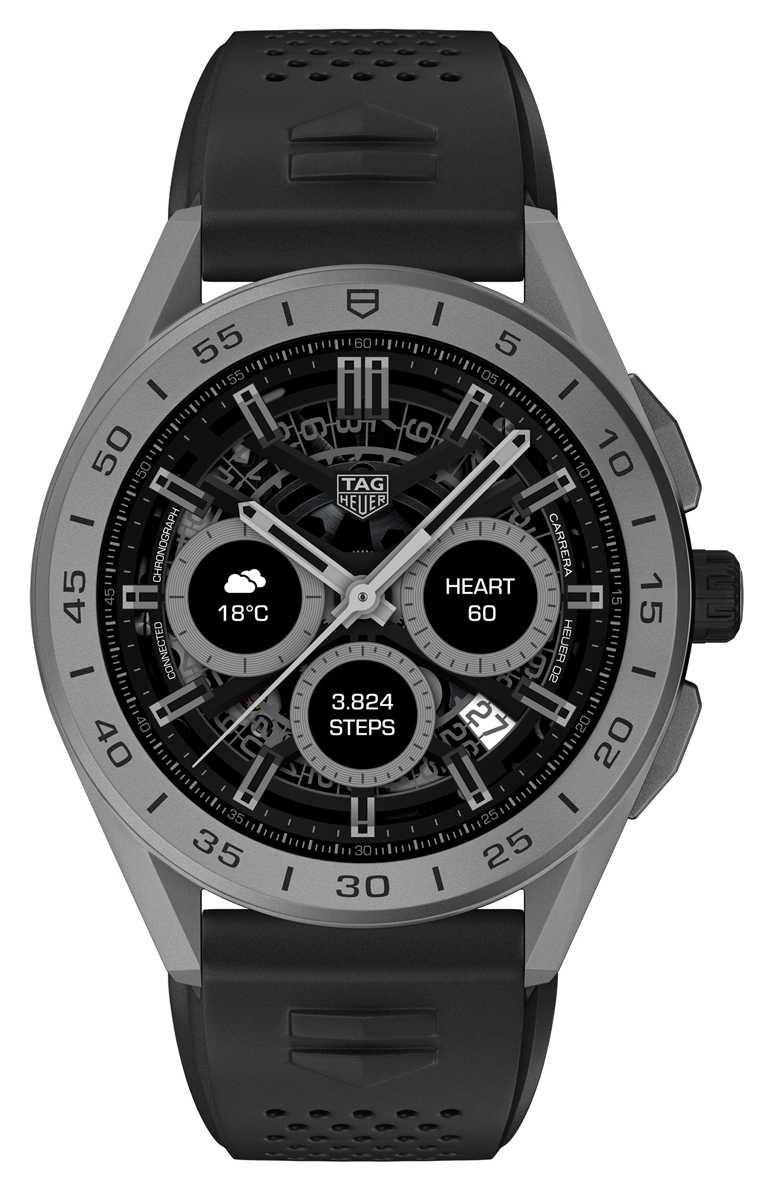 TAG HEUER「CONNECTED」智能腕錶,黑色噴砂陶瓷錶圈,45mm,2級鈦金屬錶殼,黑色橡膠錶帶╱70,700元。(圖╱TAG HEUER提供)