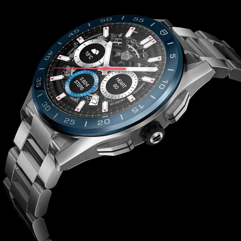 TAG HEUER「CONNECTED」智能腕錶,海洋深藍色陶瓷錶圈,45mm,精鋼錶殼、錶鍊╱65,600元。(圖╱TAG HEUER提供)