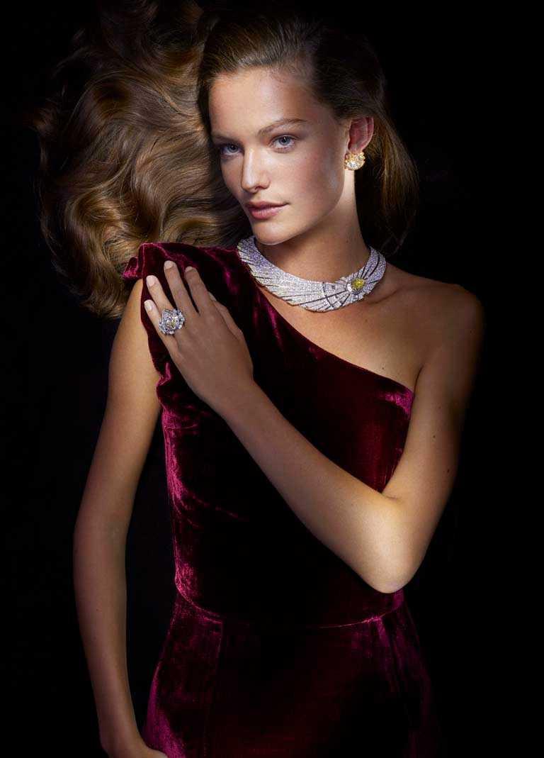 Van Cleef & Arpels「Sous les Étoiles」系列高級珠寶,鑲嵌可互換式圖騰的「Halley」項鍊和戒指珠寶套組。(圖╱Van Cleef & Arpels提供)