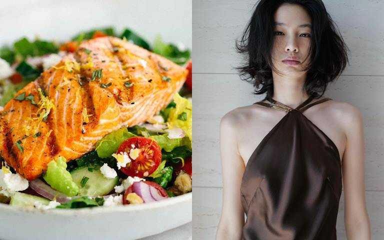 用鮭魚沙拉來當早餐,營養又爽口。(圖/翻攝網路、翻攝鄭浩妍IG)