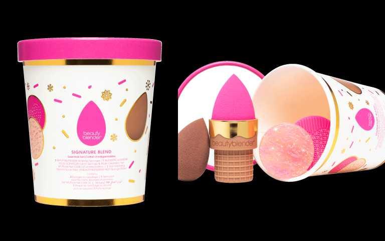 全新節日限定- 可愛限定包裝,搭配beautyblender首度推出的超吸睛限量精緻甜筒造型美妝蛋收納蛋座。創美妝蛋莓果雪酪限定組 超值收藏價 790元 (價值:1,040元 )(圖╱品牌提供)