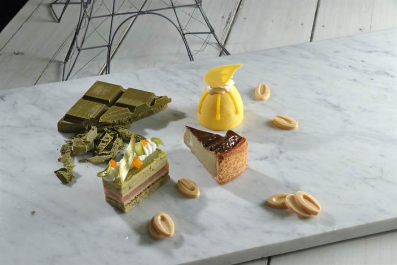 北部法蘭斯大島區的甜點運用的食材比較新穎,技術性也較高,左起珂萃(融合茶葉與巧克力)、法式布丁塔、仲夏夜(融合百香果、可可脂、鮮奶油)。