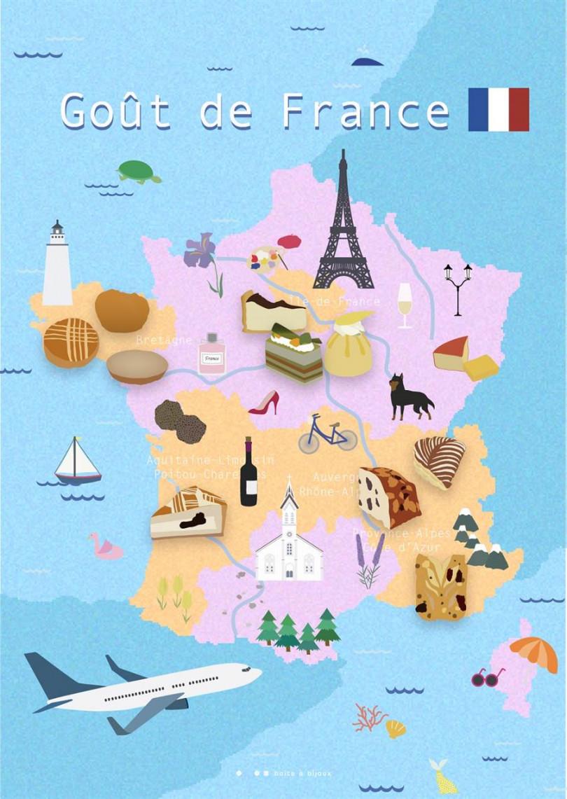 10大逸品甜點的法國5大區分布圖。