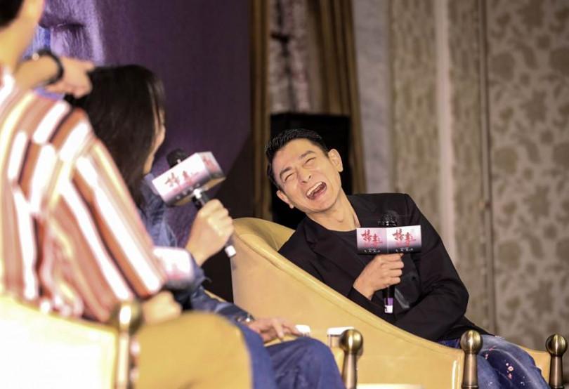 劉德華在記者會上,聊到自己電影開心不已。(攝影/張祐銘)