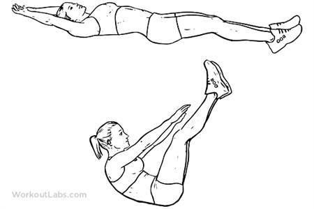 掌握V式蜷腹,擁有強健腹部!(圖片來源/截取至WorkoutLabs)