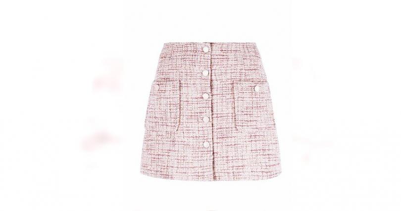 Sandro淺玫瑰色針織短裙/8,580元