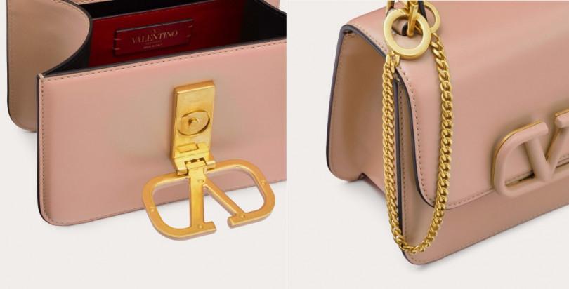 包包上的Valentino標誌性VLOGO不只是裝飾,而是搖身變成時尚鎖扣。(圖/ Valentino提供)