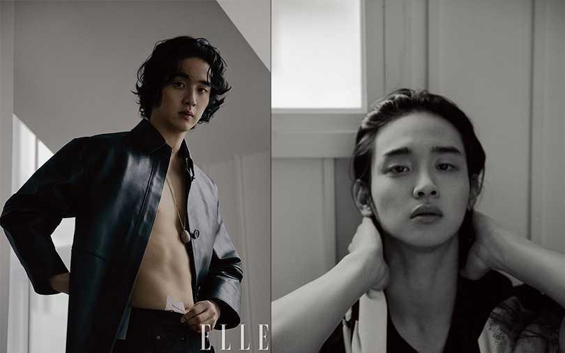韓國雜誌一月號封面新人演員張東潤就以長髮造型拍攝,除了長髮也展現迷人腹肌。(圖/ELLE KOREA)
