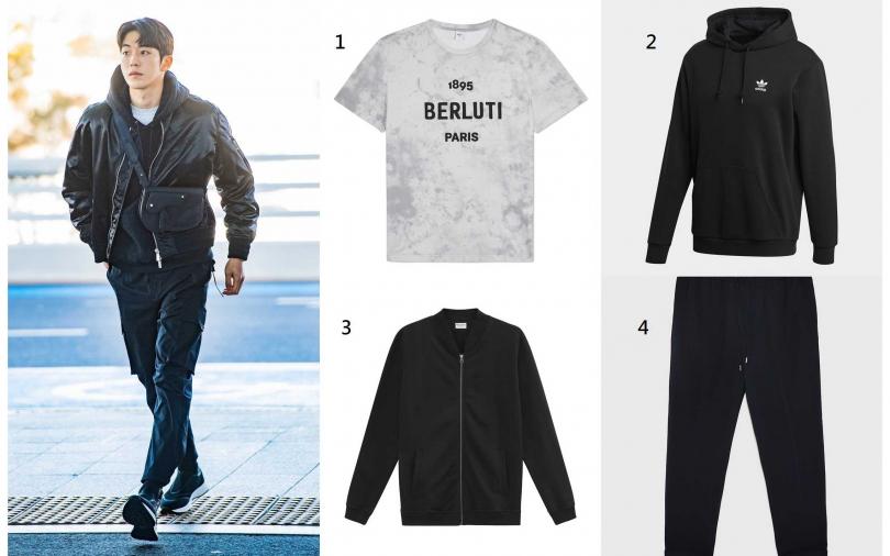 圖1/快請妳的他學歐爸這樣穿!1.Berluti 1895 Berluti Paris Logo大理石紋灰色 T-shirt/20,900元、2.adidas Originals UNISEX HOODIE/2,890元、3.Bread&Boxers Jersey Jacket男用純棉外套/2,880元、4.ZARA旅行者系列慢跑長褲/1,490元。(圖/翻攝網路、品牌提供)