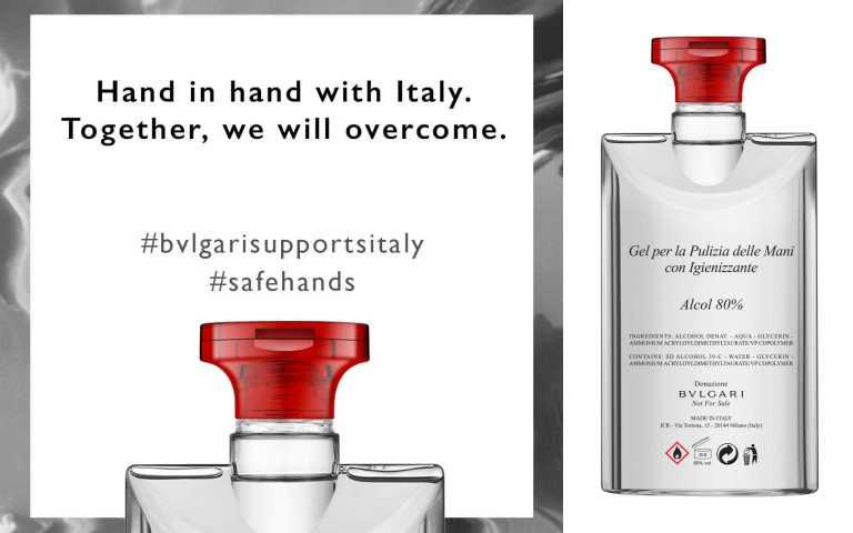 寶格麗抗菌洗手凝膠為75毫升的可回收瓶,未來將透過義大利政府分發,以幫助在前線對抗病毒的關鍵醫療機構及相關基礎建設單位。 (圖/ig)
