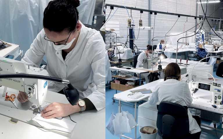 口罩生產線也曝光了,簡潔的黑帶白口罩,時尚又簡約。(圖/ig)