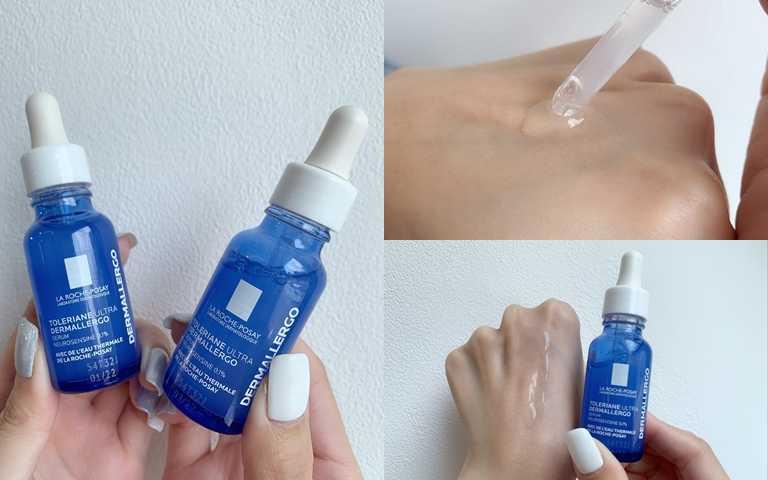 在藍色的瓶身內是清新透明、不黏膩的精華。(圖/吳雅鈴攝影)