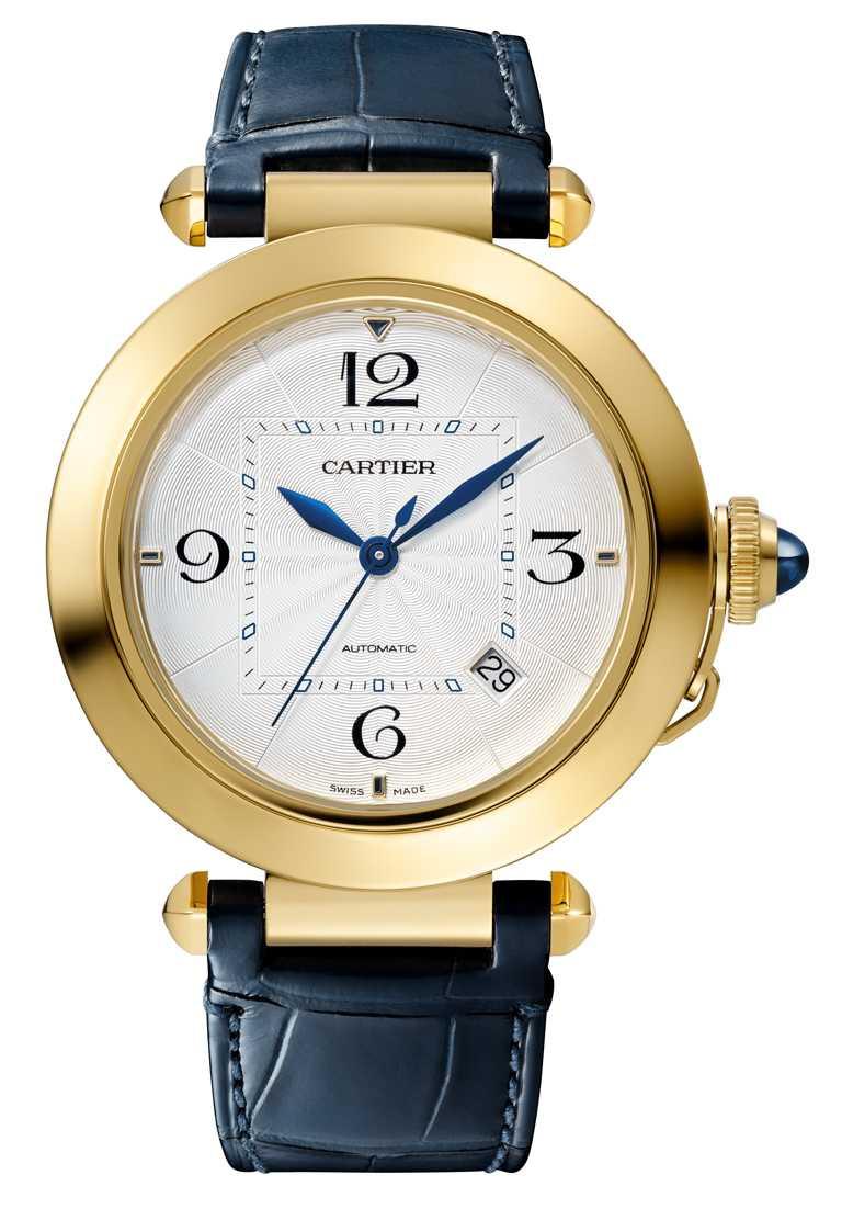 CARTIER「Pasha de Cartier」系列腕錶,18K黃金錶殼,41mm,1847 MC型自動上鏈機芯╱515,000元。(圖╱CARTIER提供)