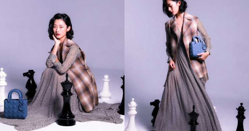 DIOR 十字方格羊毛罩衫/價格未定、波點印花雪紡洋裝/價格未定、深丹寧藍超啞光 Lady Dior My ABCDior/145,000元(圖/戴世平 攝)