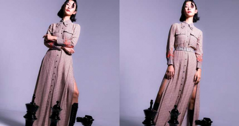 Chloé 刺繡裝飾格紋雙開衩洋裝/119,300元、細緻綴飾格紋領巾/26,400元;miu miu 綁帶皮靴/44,000元(圖/戴世平 攝)