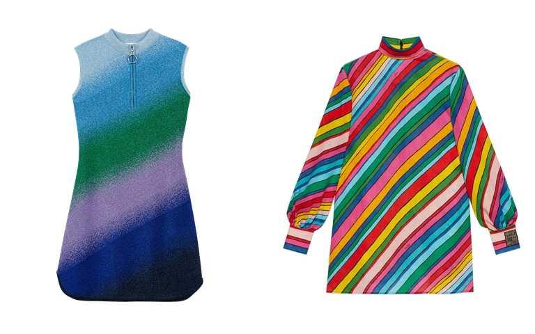 喜歡她的穿扮妳可以這樣選>>Maje漸層針織洋裝/9,050元、GUCCI Ken Scott系列彩色斜紋洋裝/43,000元。(圖/品牌提供)