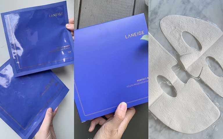 LANEIGE完美新生氣墊緊緻面膜18ml*5片/1,900元採用上下兩片式的獨立包裝,不管是哪種類型的臉部輪廓都可以完美貼合。(圖/吳雅鈴攝影)