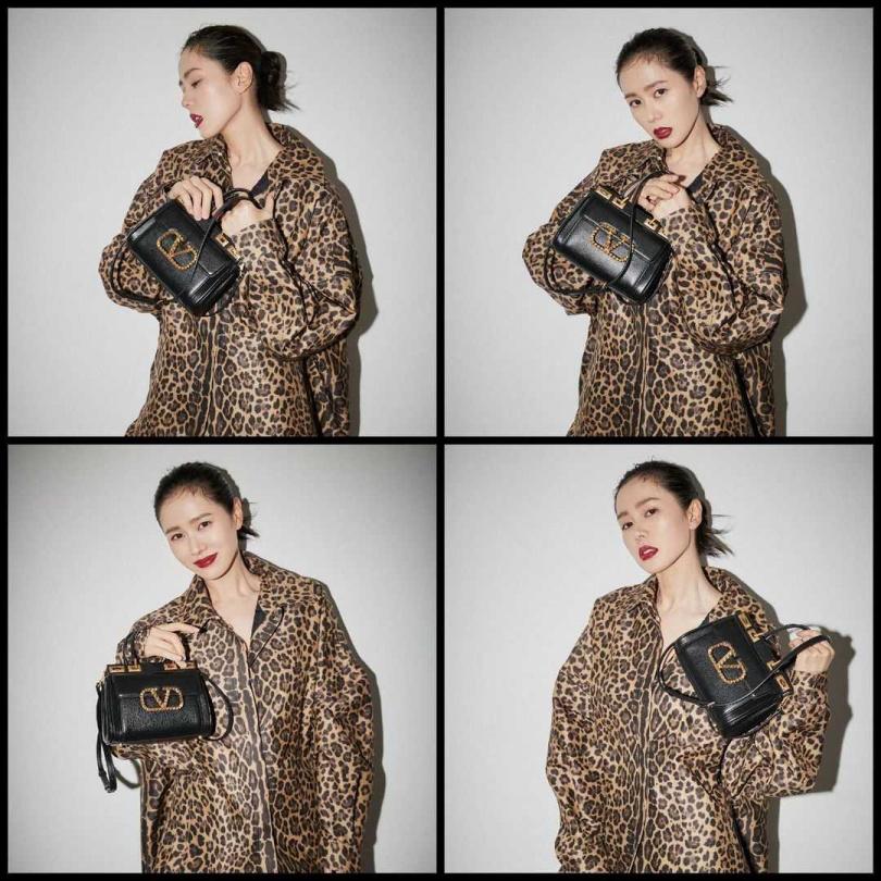 孫藝珍在個人官方Instagram PO出最新照片,以一襲Valentino早秋ROMAN PALAZZO系列豹紋外套,搭配Rockstud Alcove手提包,打破歐妮平常的穿衣風格,格外搶眼吸睛。(圖/IG)