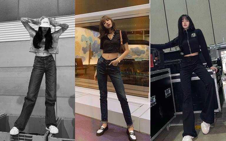 短版上衣+長褲的上短下長搭配法則,讓腿部線條無限拉長。(圖/翻攝Lisa IG)