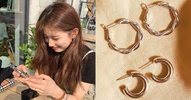 除了項鍊為主打商品外,耳環也是女明星入手的重要選品之一。(圖/翻攝自justLoveR官方IG)