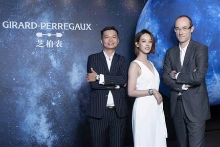 GP芝柏表大中華區總經理葉永欣、孟耿如、GP行銷總監Luc(左至右)共同慶祝新錶款上市。