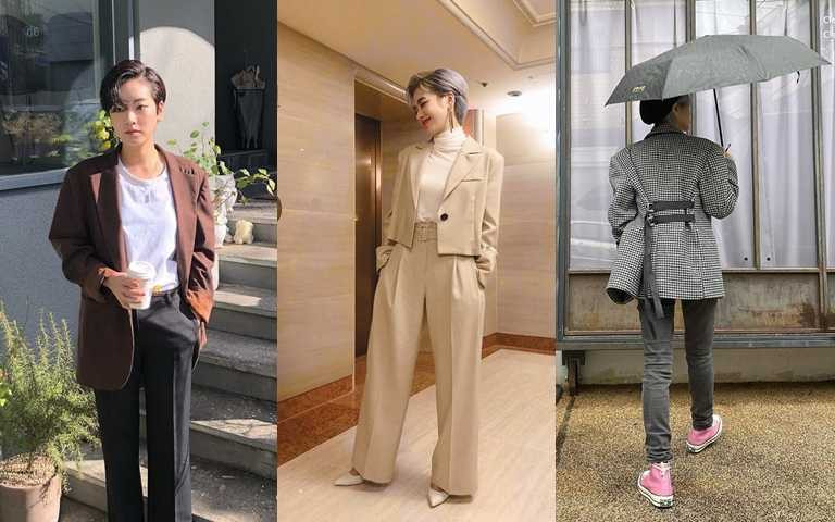 帥味十足的時尚感搭配俐落短髮造型,即使簡單穿搭也是時尚話題中心。(圖/翻攝自IG@i_icaruswalks)