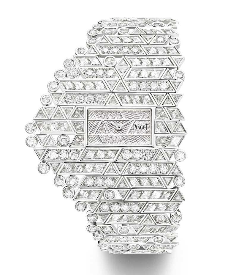 PIAGET「Golden Oasis系列」之「Play of Lights-White Horizons」頂級珠寶鑽石腕錶,18K白金錶殼,15.8mm╱15,100,000元。(圖╱PIAGET提供)