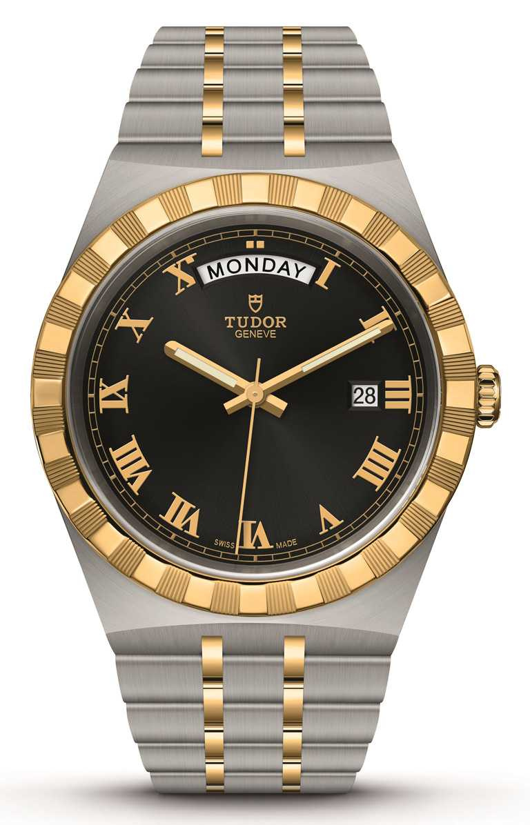 TUDOR「Royal皇家系列」腕錶╱316L不鏽鋼錶殼,黃金鋼錶帶,41mm╱107,000元。(圖╱TUDOR提供)