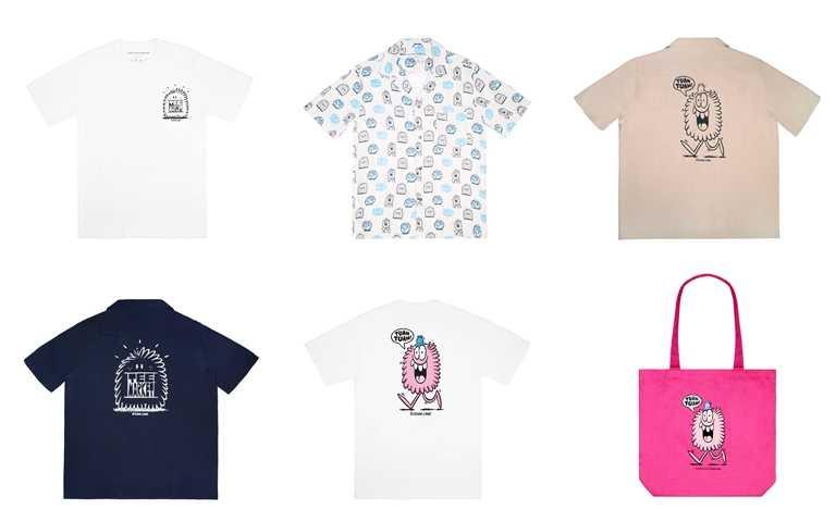 團長/副團長小怪獸國際聯名系列商品,包含棉質T恤、夏威夷衫與托特包,及部分文具&配件。(圖/團團TUAN TUAN)