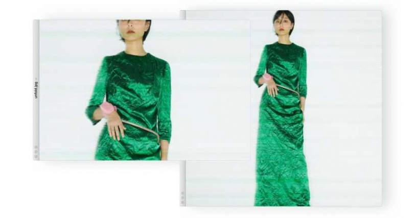 MIU MIU 綠色緞面抓皺洋裝/價格未定、復古厚底高跟鞋/價格未定;PRADA粉色珠寶盒手環/價格未定;Chloé Chloé Denise 腰鍊/33,400元。(圖/戴世平攝)