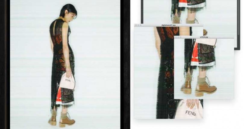 FENDI 華麗珠飾蕾絲洋裝/價格未定、粉色皮革束口手袋/價格未定;Chloé 女性圖騰平口高衩洋裝/價格未定、Feanne 雕花襪套短靴/價格未定。(圖/戴世平攝)