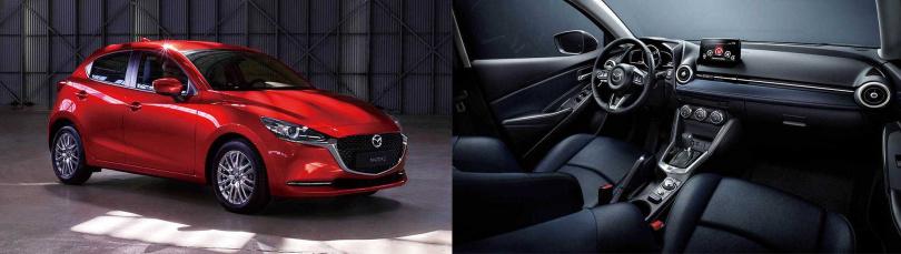 Mazda 2的水箱護罩採取和Mazda 6相似的黑色網狀設計(左)。座椅升級為高密度泡綿,背部與腿部支撐性更優異(右)。(圖/MAZDA提供)