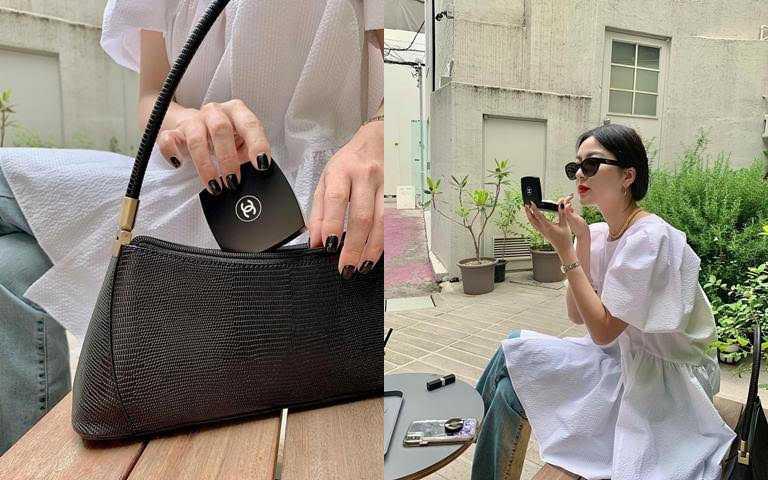 黑色霧感包裝好有時尚感,漂亮女生都知道一定要帶它出門>///<。(圖/IG@gusojeong)