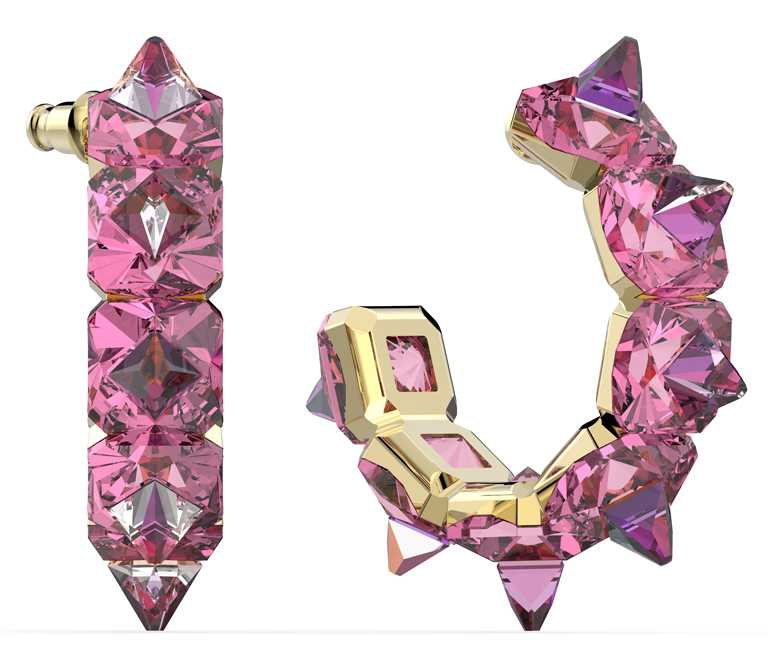 SWAROVSKI「Wonderlab Collection I」系列,CHROMA豔彩水晶大圈耳環╱10,900元。(圖╱SWAROVSKI提供)
