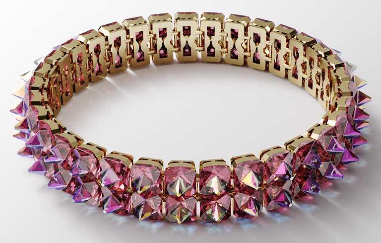 SWAROVSKI「Wonderlab Collection I」系列,CHROMA豔彩水晶Choker頸鍊╱27,900元。(圖╱SWAROVSKI提供)