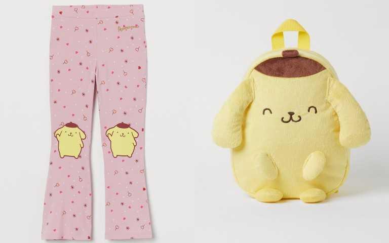 H&M 三麗鷗 Sanrio 聯名童裝系列布丁狗印花休閒褲 399元;布丁狗包包 499元(圖/品牌提供)