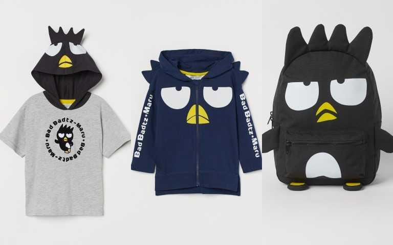 H&M 三麗鷗 Sanrio 聯名童裝系列酷企鵝造型帽T 399元;酷企鵝造型帽T 699元;酷企鵝造型背包 399元(圖/品牌提供)