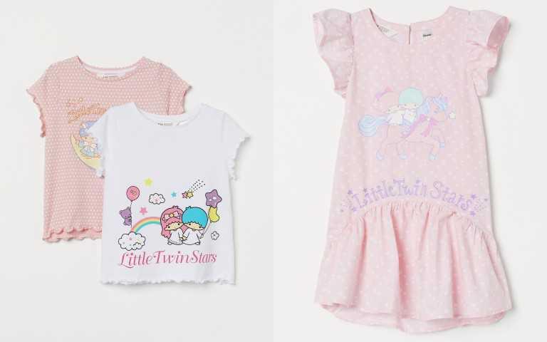 (左)H&M 三麗鷗 Sanrio 聯名童裝系列Little Twin Stars Kiki Lala女童2件組上衣 499元,(右)Little Twin Stars Kiki Lala卡通圖案連身裙 399元。(圖/品牌提供)