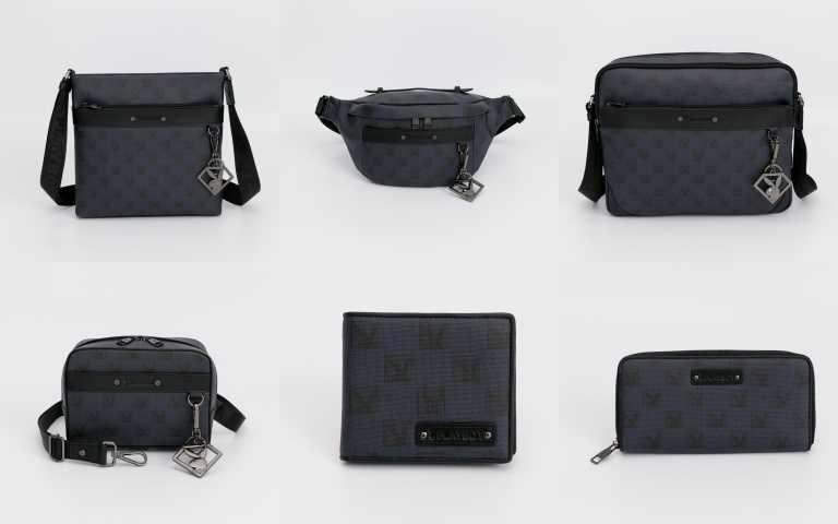 PLAYBOY PZG系列 下沉式斜背包/3,180元、腰包(可單肩背) /2,580元、斜背包(大) /3,680元、小斜側 (可手拿) /2,380元、短夾(附拉鍊零錢袋) /2,180元、ㄇ字拉長夾 /3,080元(圖/品牌提供)