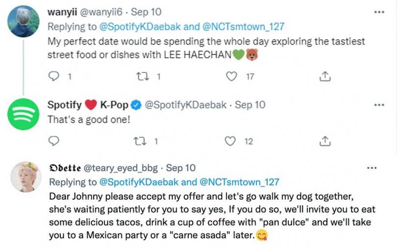在此 Enhanced Album 推出前,許多 NCTzen 也在 Twitter 上回應 Spotify 的推文:「和我們分享你們想像中與本命的完美約會為何吧!這有可能成真喔!」並分享他們和團員的理想約會提案。