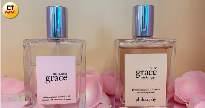 左邊的驚喜優雅芭蕾玫瑰淡香水在台灣初販售就賣到缺貨!連櫃姐都好訝異沒打廣告也可以這麼受歡迎!(圖/吳雅鈴攝影)