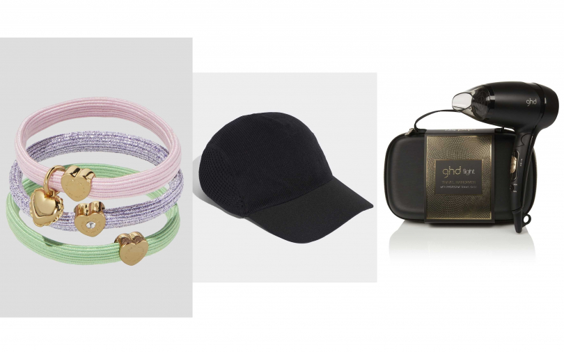 Marc Jacobs三色髮圈(可當手環)/1,890元、didas by Stella McCartney黑色棒球帽/1,500元、ghd flight旅行雙頻吹風機/3,600元(圖/品牌提供)