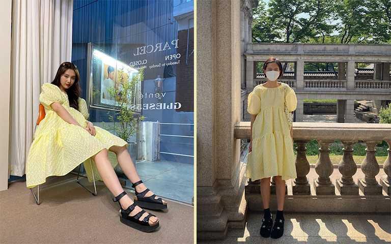 女星joy、金娜英都選擇同款小雞黃洋裝,配上黑色涼鞋增加時髦感。(圖/nayoungkeem IG,_imyour_joy_ IG)