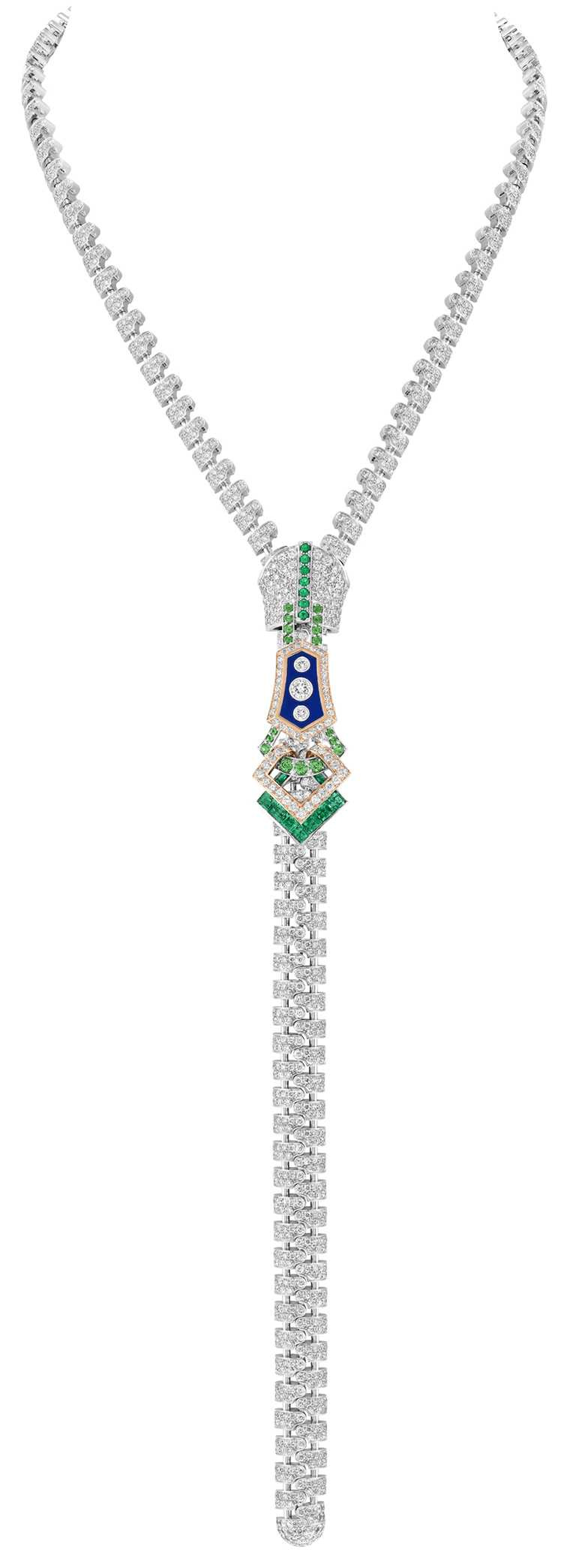 Van Cleef & Arpels「Zip Couture Delicate Buttons項鍊」,白K金、玫瑰金、祖母綠、沙弗萊石、青金石、鑽石,近日內即將抵台展示。(圖╱Van Cleef & Arpels提供)