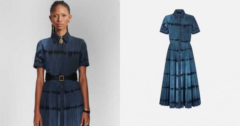 特殊的漸層染色讓丹寧多了分少見的異國風情。DIOR Tie & Dior 主題圖案中長連身裙/110,000元(圖/品牌提供)