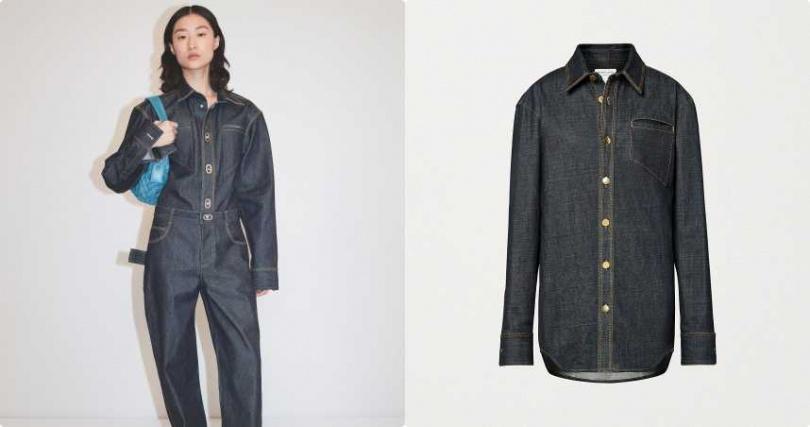 硬挺的丹寧材質,透過動作連結創造出更多型態。Bottega Veneta 丹寧襯衫/約30,000元(圖/品牌提供)